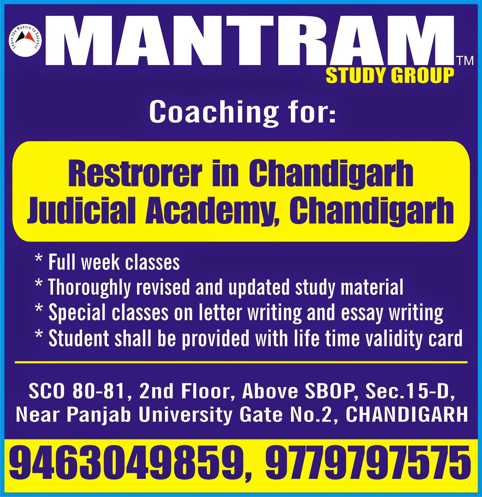 mantram study group latest govt jobs in 2017 expertise coaching for restorer chandigarh judicial academy sector 43 chandigarh by mantram study group in chandigarh