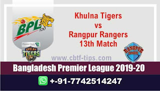 Who will win Today BPL T20, 13th Match Khulna vs Rangpur - Cricfrog