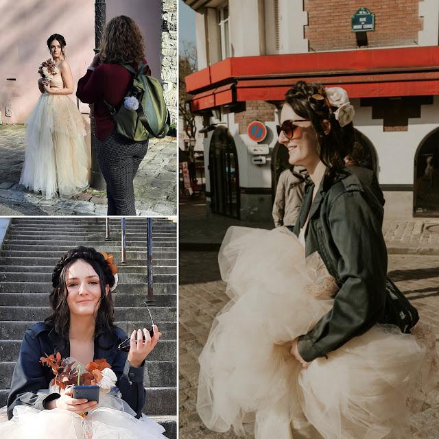 Robe de mariée rock et jupe en tulle