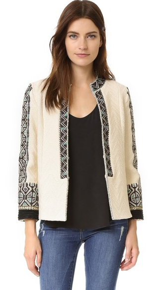 creamy color short body coat with emroidery