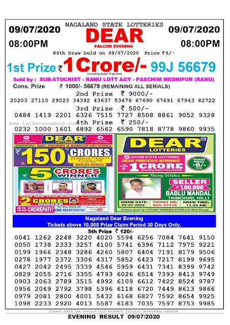 Nagaland State Lottery Sambad 09-07-2090 Today Result 8 PM