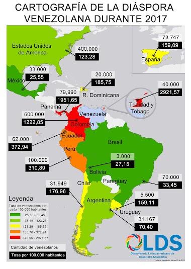 Cartografía de la diáspora venezolana en 2017