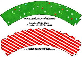 Wrappers para cupcakes de Navidad a Rayas.