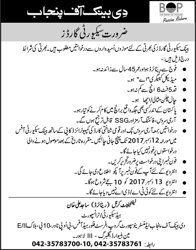 Jobs In The Bank Of Punjab Lahore Dec 2017