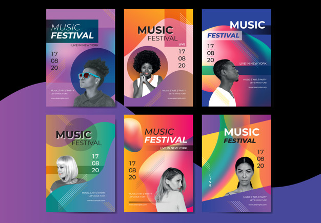 Bright music poster Free Vector