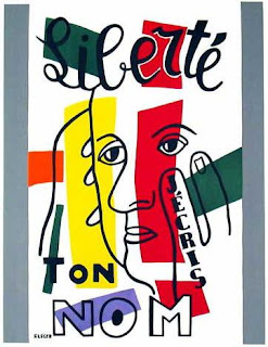 """© Paul Eluard-Fernand Léger, """"Liberté"""" (détail), Seghers ed., Paris, 1953 © ADAGP, Paris 2015 © RMN-GP/ photo M. Rabeau. Livre de 1953 © Editions Seghers. Texte : Paul Eluard, poème """"Liberté"""" in Au rendez-vous allemand © 1945 by Les Editions de Minuit"""