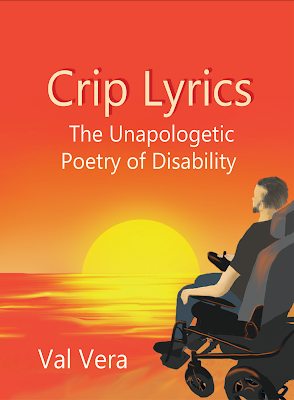 Image: A man in a black T-shirt and gray pants faces an orange sunset across the water. He is in a power wheelchair and has his hand on the joystick. He has black hair and facial hair. The title of the book is above the sun in the sky and the poet's name is on the bottom left of the image.
