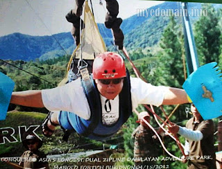 My hubby in Bukidnon, enjoying the the longest dual zipline in Asia
