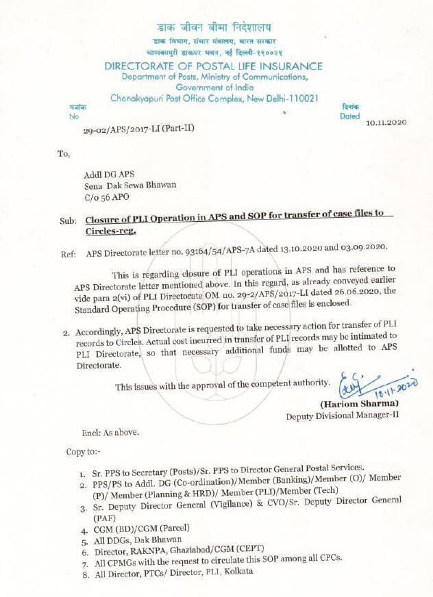 Closure of Postal Life Insurance operation in APS and SOP for transfer of PLI case files to Circle