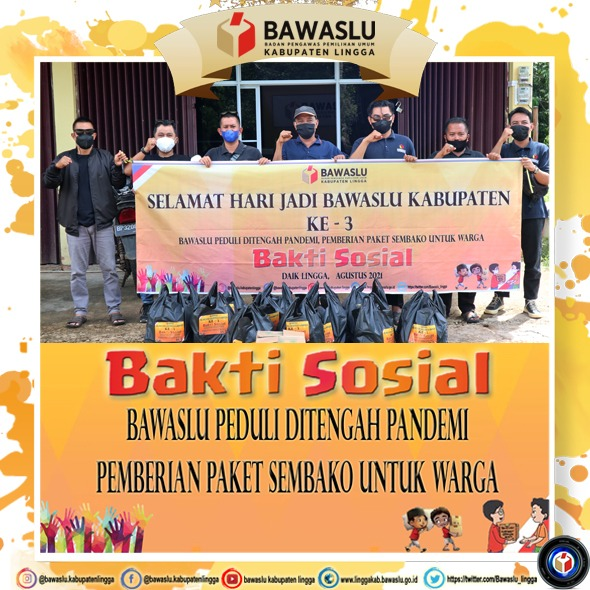 Peringati HUT ke 3, Bawaslu Kabupaten Lingga Bagikan Paket Sembako Kepada Warga Yang Terdampak Covid-19