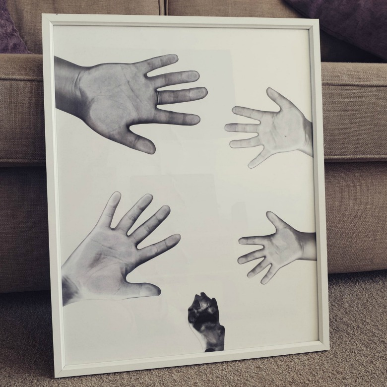 Family handprint art using photocopier