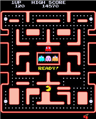 Ms, Pac-Man screen altered so Ms. Pac-Man cannot run.
