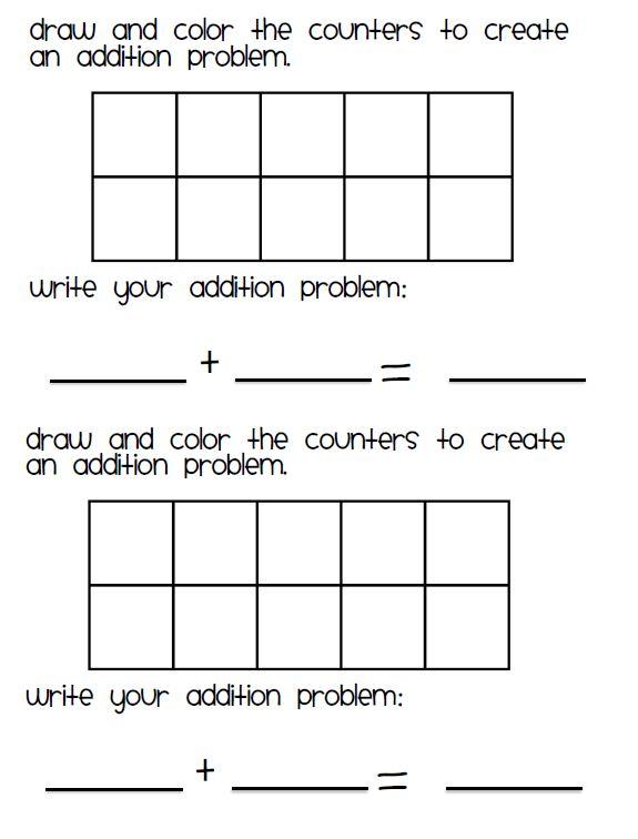 Addition Worksheets Addition Worksheets With 10 Frames Free