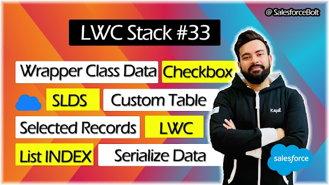 EP-33 | Wrapper Class data | Custom Table | Checkbox | Selected Records | get List Index in LWC ☁️⚡️
