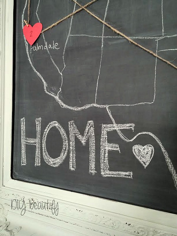 chalkboard map Valentine's project at DIY beautify