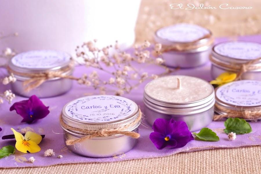 Detalles para bodas velas naturales lavanda