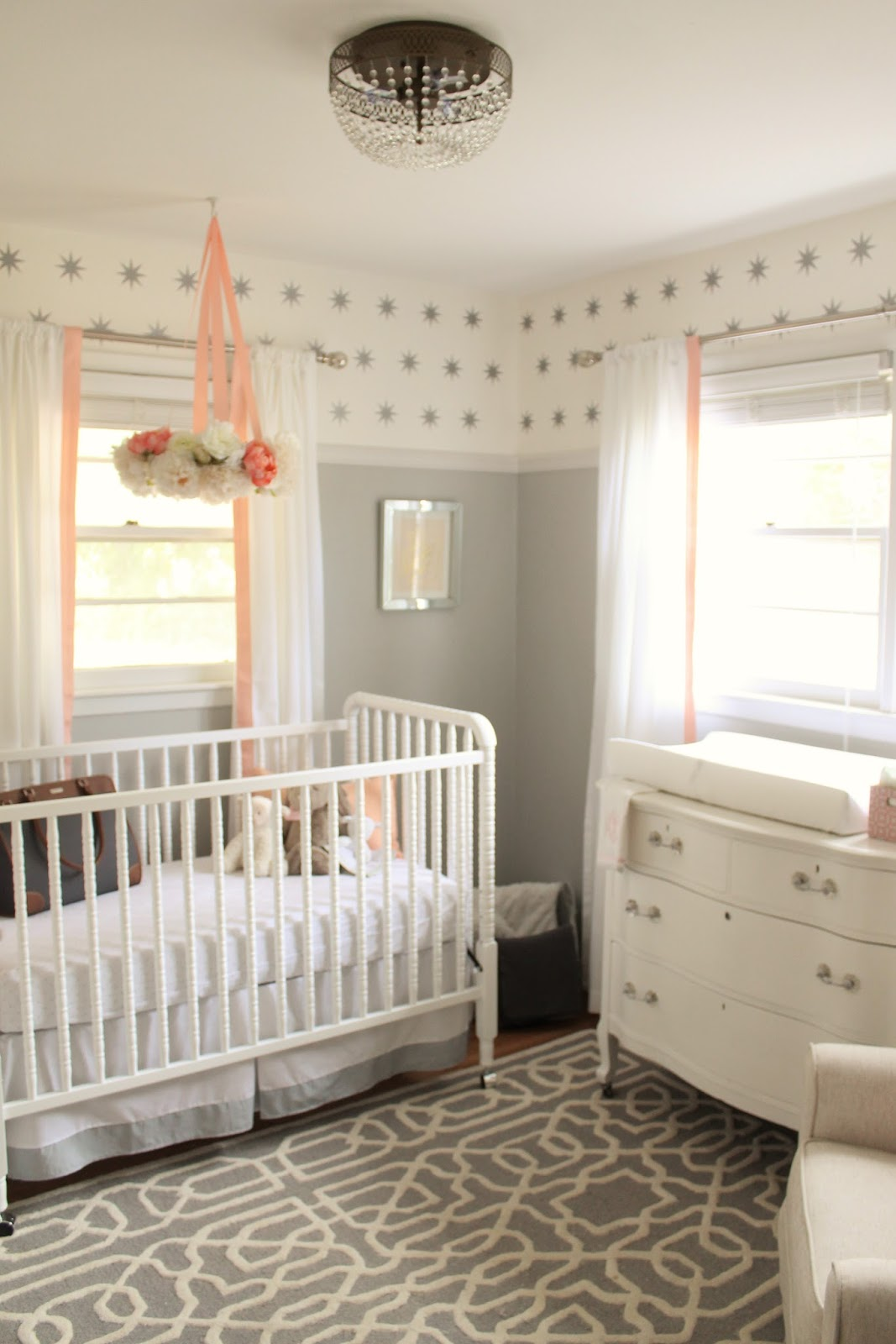 Baby Boy Room Grey: 12th And White: Peach And Gray Nursery Reveal