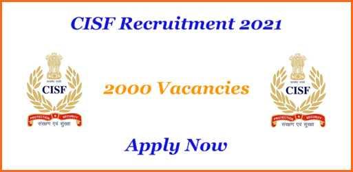 CISF 2000 vacancy Positions