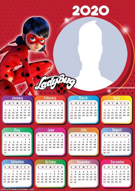 Prodigiosa Ladybug: Calendario 2020 para Imprimir Gratis.