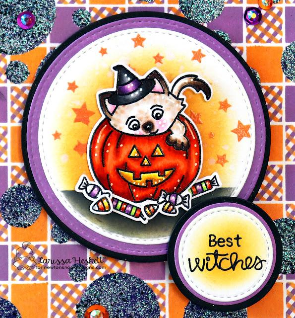 Halloween Kitty Card by Larissa Heskett | Trick or Treat Kittens Stamp Set, Gingham Stencil, Bokeh Stencil Set and Circle Frames Die Set by Newton's Nook Designs #newtonsnook