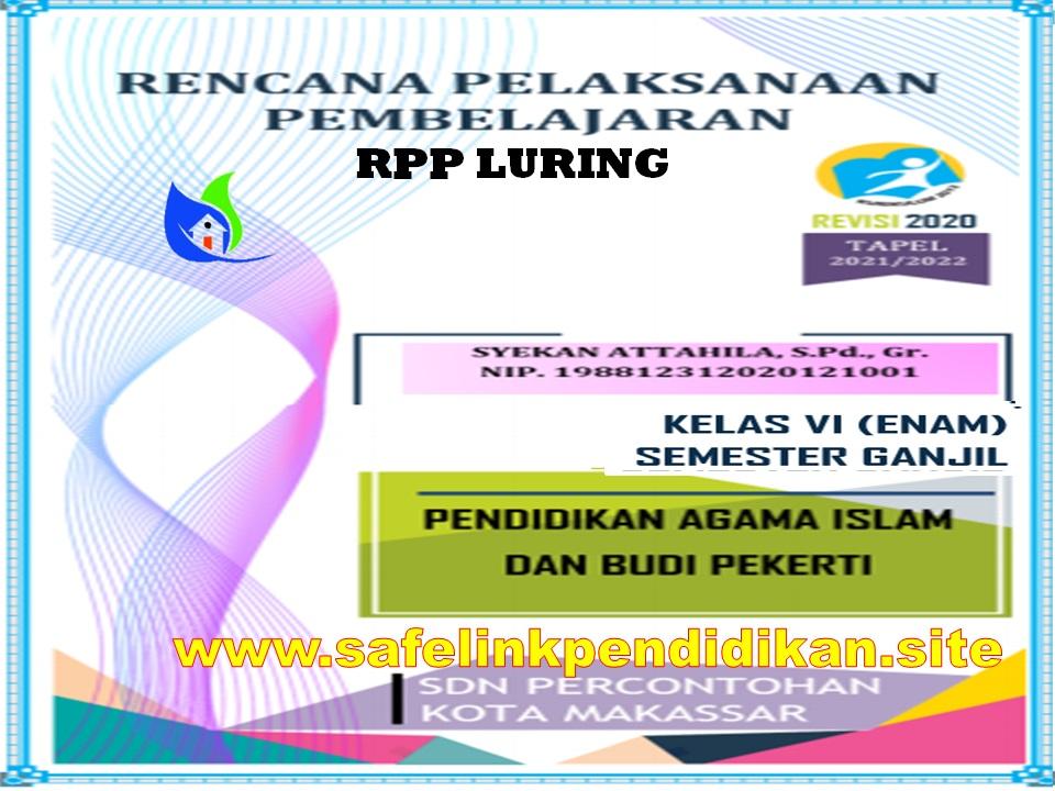 Contoh RPP Luring 1 Lembar PAI Dan BP Kelas 6