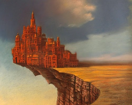 25-Town-Upon-Abyss-Marcin-Kołpanowicz-Painting-Architecture-in-Surreal-Worlds-www-designstack-co