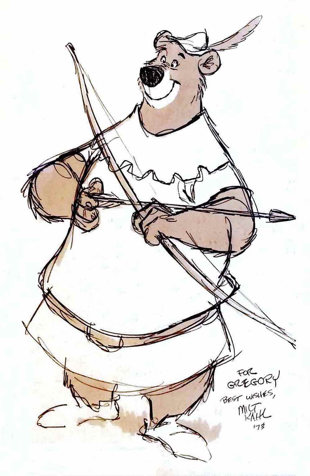 a Milt Kahl drawing for Disney for the 1973 animated film Robin Hood