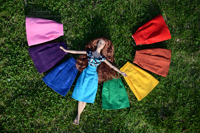Colourful skirts for dolls