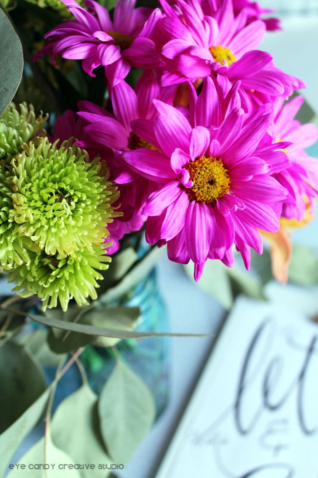 flowers, bouquet, pink daisies, leaves