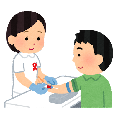 HIV検査のイラスト(男性・胸リボン)