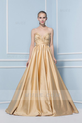 Modern Long Ball Gown Strapless Gold Prom Dress