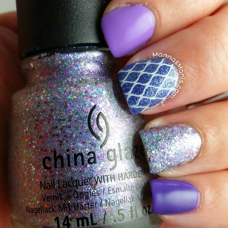 purple nail polish with glitter nail polish and nail stamping
