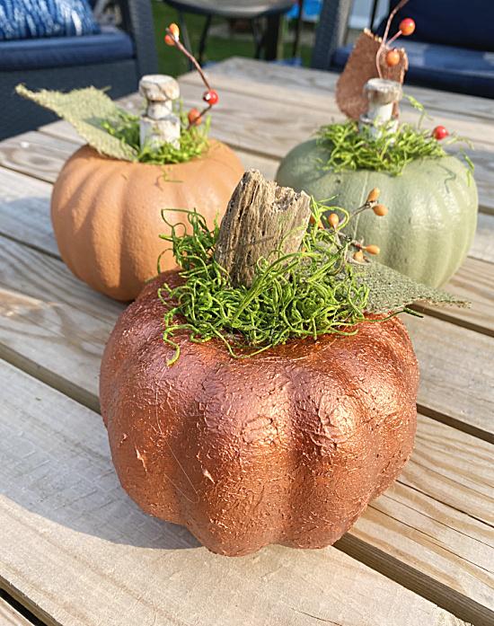 trio of textured pumpkins