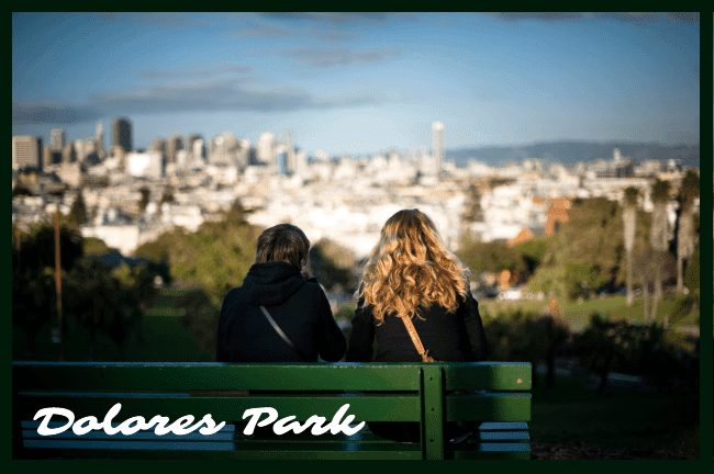 A view of downtown San Francisco from a park bench in the Castro district's Dolores Park.