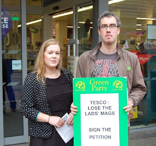 "The Green Party helped with the petition to get Tesco supermarkets to ""Lose The Chat Mags"", but have been inactive over the issue of women's chat mags."
