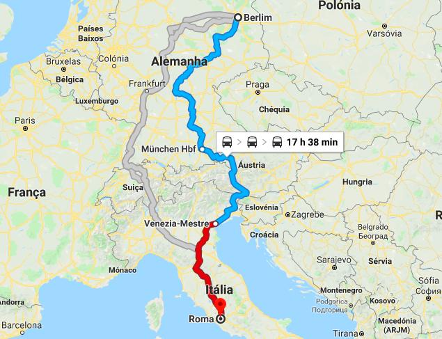 Mapa da viagem de trem de Berlim a Roma