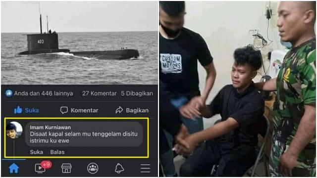 Komentar Cabul Buat Istri Kru KRI Nanggala, Pria Medan Nangis Diciduk TNI