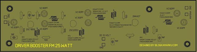 PCB Layout Driver Untuk Booster Pemancar Fm 25Watt