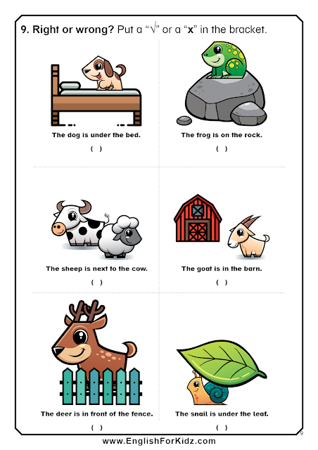 Prepositions of place worksheets with pictures