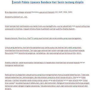 CONTOH NASKAH PIDATO UPACARA BENDERA HARI SENIN TENTANG DISIPLIN - WINDOWBRAIN.COM