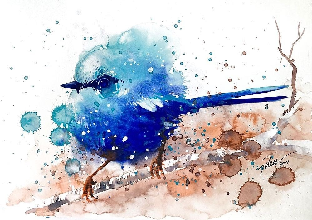 07-Wren-Tilen-Ti-Paintings-of-Animals-with-Splashes-of-Paint-www-designstack-co