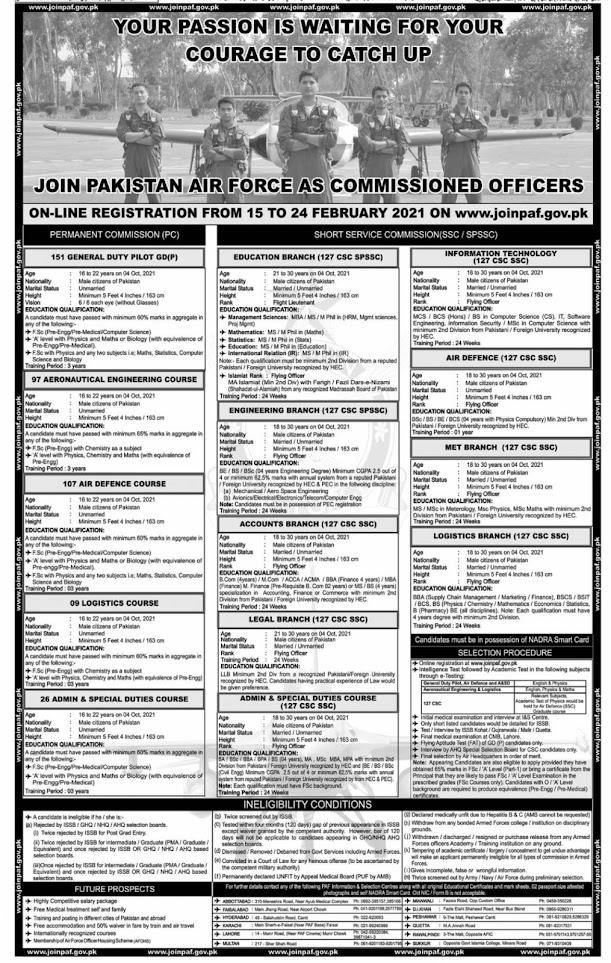 Pak Air Force Jobs 2021 - Air Force Vacancies - Air Force New Jobs - Air Force Latest Jobs - Air Force Officer Jobs - PAF Online Registration - www.joinpaf.gov.pk