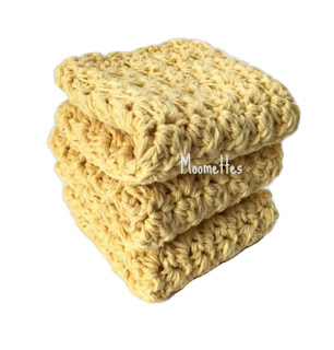 Handmade Yellow Dish Cloths Cotton Washcloths