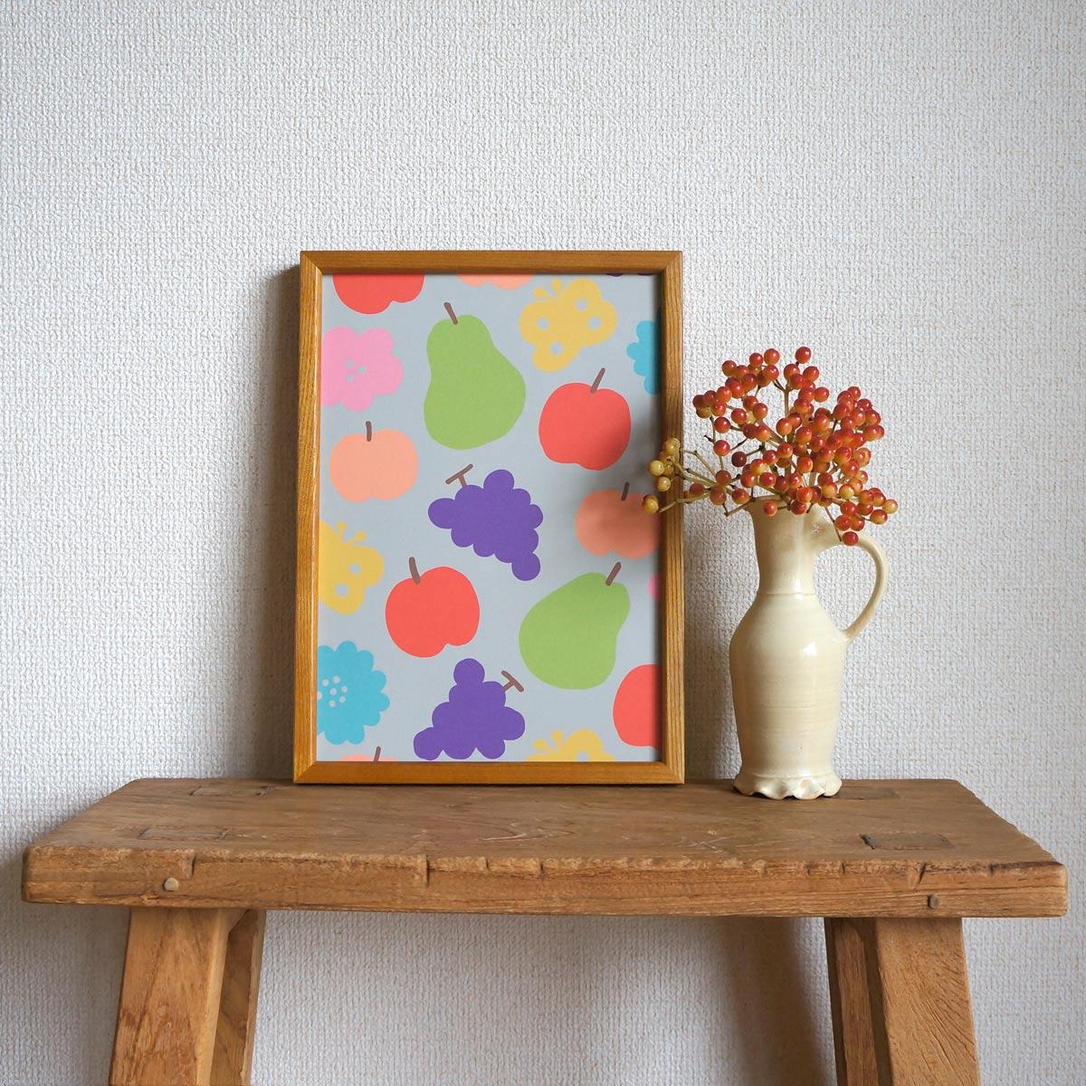 新作ポスター「花と果実と蝶模様」をお店に並べました☆彡