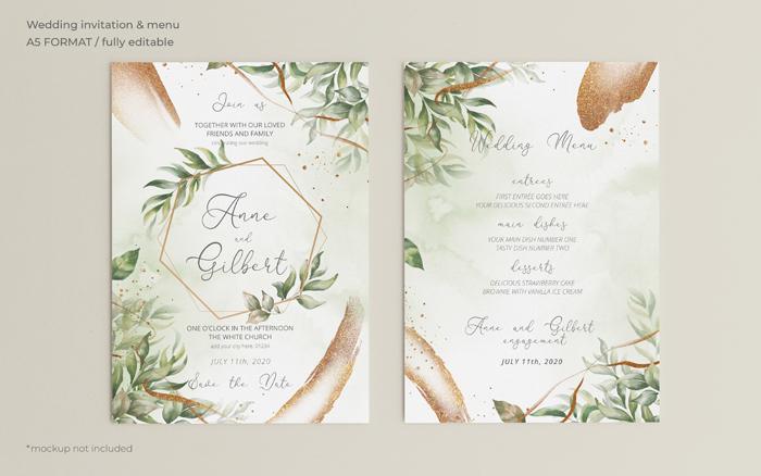 Elegant Wedding Invitation And Menu Template with Leaves
