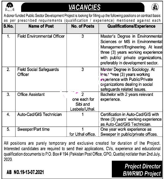 Public Sector Development Project - PO Box 194 Quetta  Latest Jobs 2021