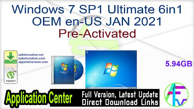 Windows 7 SP1 Ultimate 6in1 OEM en-US JAN 2021 Pre-Activated