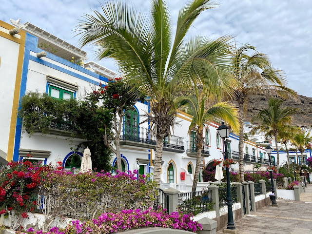Rows of white houses, with palm trees and flowers, in Puerto Mogan, Gran Canaria, Spain