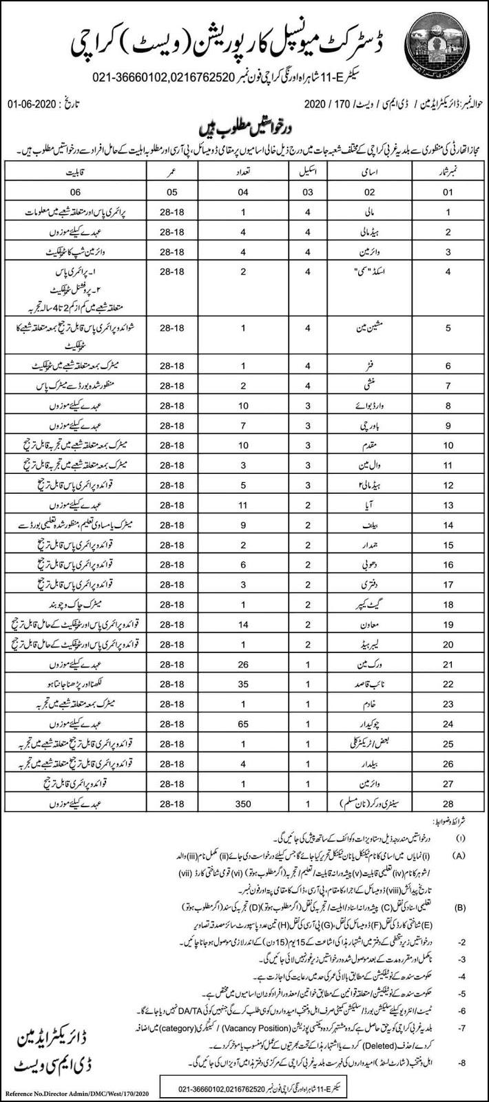 570+ Jobs in Karachi Metropolitan Corporation KMC Labor Posts 2020