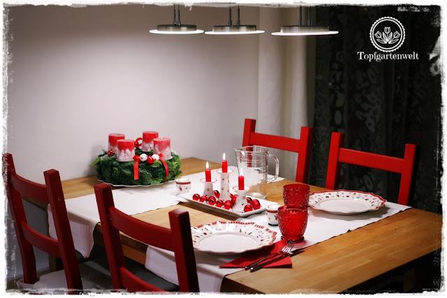 Gartenblog Topfgartenwelt festliche Weihnachtsdekoration in Rot und Weiß + Rezept Flammkuchen: Esstisch